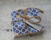 Blue Patterned Tumbled Marble Coasters