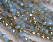 3mm Milky Aquamarine Celsian Fire Polished Beads - Czech Glass Beads - Bead Soup Beads