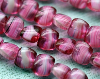 Dark Pink and White Pillow Beads - Premium Czech Glass Beads - Czech Glass Pillows - Bead Soup