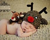 Baby boy hat, baby girl hat, crochet reindeer hat, reindeer, photo prop, rudolph, baby shower gift, first christmas, crochet newborn