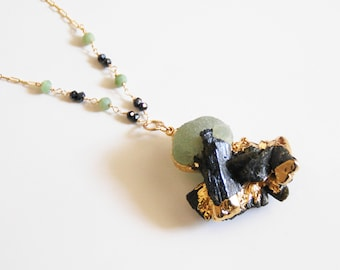 Raw Black Tourmaline With Prehnite Edged in gold Pendant Necklace -Statement Necklace - Fine Jewelry