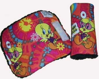 Baby Tweety Pie Fabric Car Seat Pram Cart Highchair Harness Cover Belt Pads - Travel Aid
