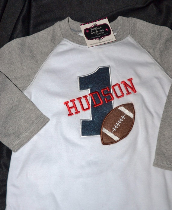 1st Birthday Raglan Style Shirt Football Number 1 And Name