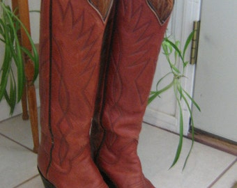 Vintage Sanders Womens Ladies Tall Stitched Leather Cowboy Boots Size 4 1/2 C, 1980s Mid Century Apparel, Vintage Footwear