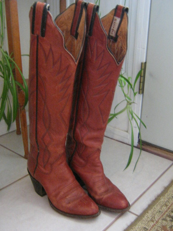 Vintage Sanders Womens Ladies Tall Stitched Leather Cowboy