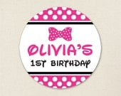 Minnie Mouse Party - Custom stickers - Sheet of 12 or 24 - Choose pink or red