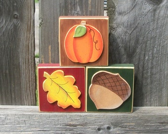 Fall Autumn Wood Block Shelf Sitters for Interchangeable Welcome Sign