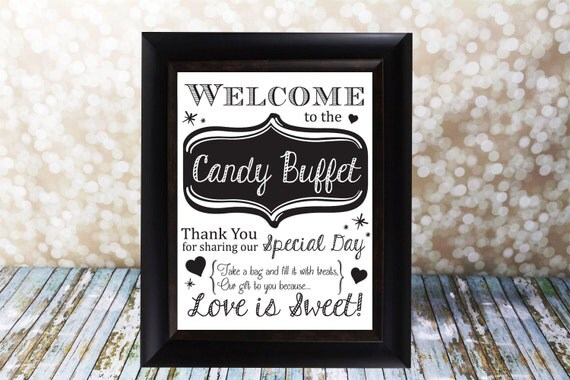 Items Similar To Welcome To The Candy Buffet Wedding Table SignMr Amp Mrs Bride And Groom 8 X