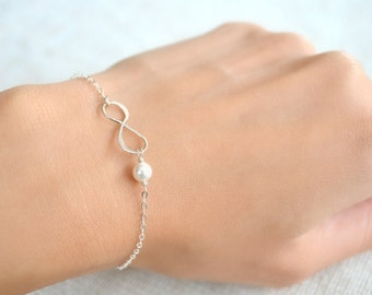 Sterling Silver Infinity Bracelet with Pearl - Choose Your Pearl Color - Anniversary, Wedding, Bridesmaids Gift, Mother of the Bride
