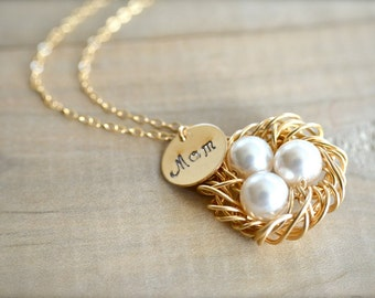 Mom's Birdnest Pendant - 3 Pearls Wrapped in Gold - Choose Your Pearl Color - mom, mother, kids, children, grandmother, Mother's Day