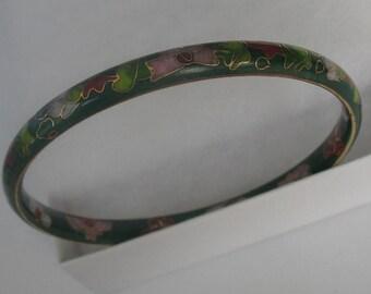 SALE Vintage Floral Enamel Bangle Bracelet