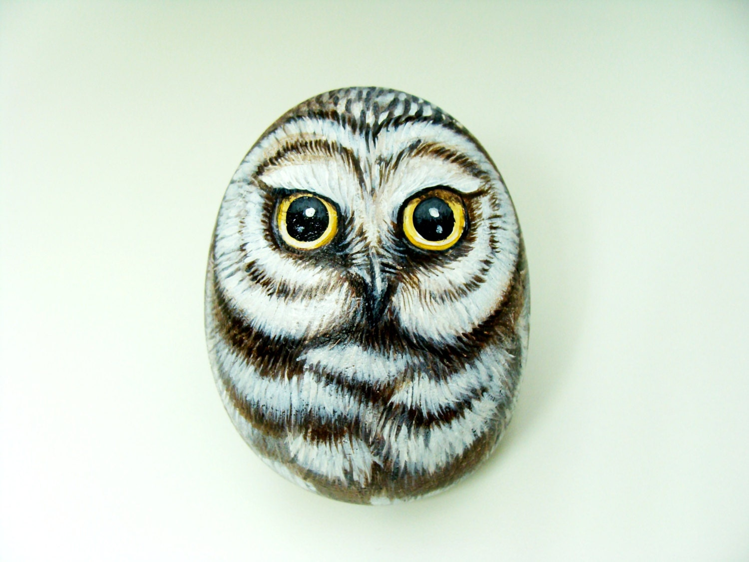 Cute Little Owl Hand Painted Rock by Shelli Bowler