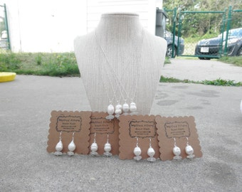 Set of 4  Oval Pearl and Beach Glass Jewlery Sets Lake Erie Ohio