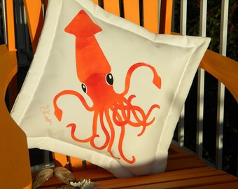 "Outdoor pillow COLOSSAL SQUID 20"" (50cm)  your color choice orange ships tomorrow kraken tentacles octopus Nautilus Crabby Chris Original"