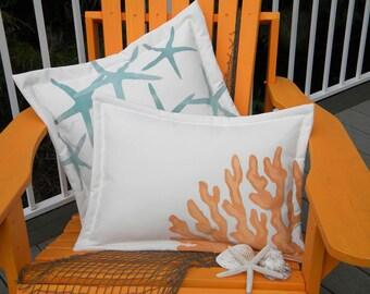 Outdoor pillow coral reef lumbar 15x20 ocean coastal beach SCUBA sailing patio garden Crabby Chris Original