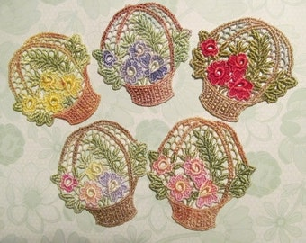 Lace Flower Basket Hand Dyed Venise Lace Applique Motif