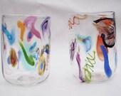 Hand Blown Art Glass Murrini Cane Tumblers COCKTAILS!