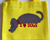 mini bright yellow tote bag with a handpainted whimsical dog lover design