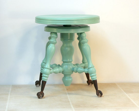 Antique Piano Stool With Glass Ball And Claw Feet Aqua Green