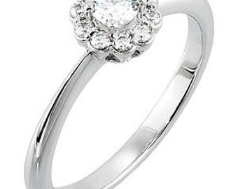 1/3 Carat Diamond Floral Inspired Engagement Ring