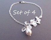Set of 4 Bridesmaid Gifts, Silver Orchid Flower Bracelet with Teardrop Pearl and Initial Charm, Wedding Jewelry, Bridesmaid Bracelet
