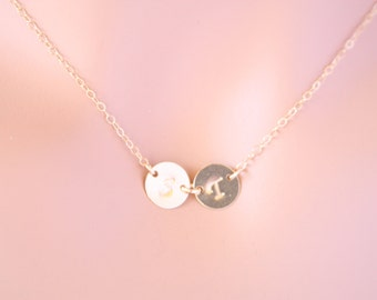 Customized Two Initial discs Necklace All GOLD FILLED , engraved necklace, everyday jewelry, perfect gifts, birthday, mothers day , for her