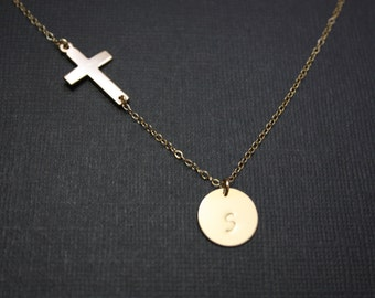 Beautiful Sideways cross necklace with Custom Letter one sparkling 12mm  in gold  filled -  birthday gift ,for her, for mom daughter,