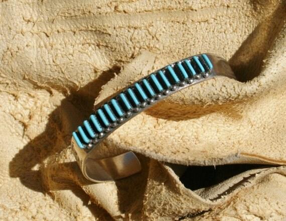 Old Zuni Petit Point Turquoise Cuff Bracelet Signed Circa