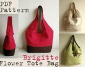 PDF Sewing Pattern to make Tote Bag Brigitte Flower easy sewing tutorial