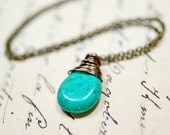 Teal Green Teardrop Necklace / Faux Turquoise Wire Wrapped Stone Necklace / Simple Jewelry / Minimalist Necklace / Bohemian Jewelry