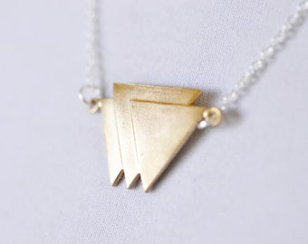 Geometric Triangle Necklace, Modern Minimalist Bright Brass Pennant Bunting, Mixed Metals Gold and Silver Jewelry