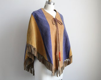 Vintage Suede Cape - Western Cape - Cornflower Blue and Raw Suede - Fringe Cape