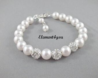 Bridesmaid bracelet, Swarovski pearls, Wedding jewelry, Silver balls, Heart clasp, Bridal party gift, Ivory pink grey black purple pearls.
