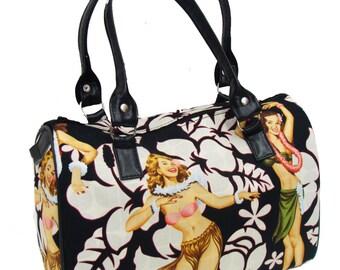 USA Handmade Handbag Doctor bag Satchel Style Calendar Girl Aloha Girls PIN Up 50's Pattern Alaxander Henry Cotton Fabric Bag Purse, new
