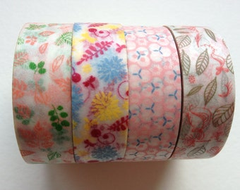 Washi Tape flowers single - Beautiful Floral (choose one) for invitations, party favor, stickers and labels