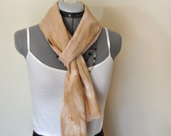 """Tan Linen SCARF - Urban Eclectic Style Taupe Natural Hand Dyed Hand Made Linen Scarf #28 - 8 x 74"""""""
