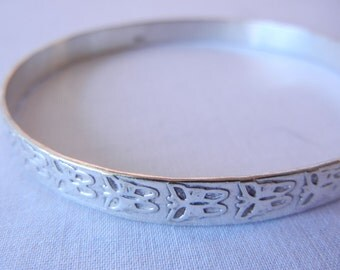 Silver Cuff Butterfly Bracelet, Band Bangle, Real Mexico Silver, Simple Narrow Shape
