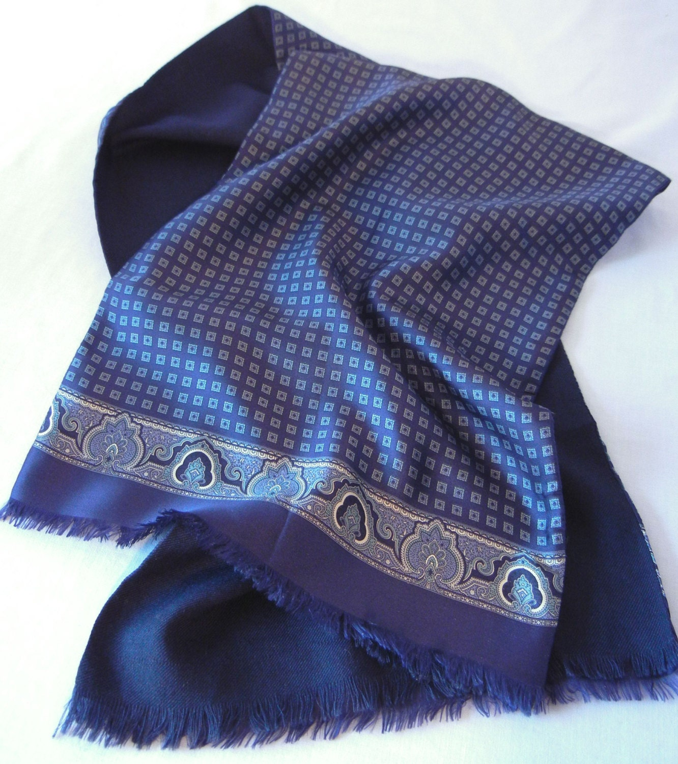 RESERVED FOR DANMen's Navy Blue Fringed Scarf Silk and