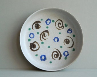 Vintage Martz Marshall Studios Shallow Stoneware Bowl with Blue and Brown Circles and Swirls