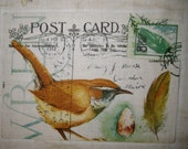 Paris Bird Postcard Quilt Fabric Block 10""