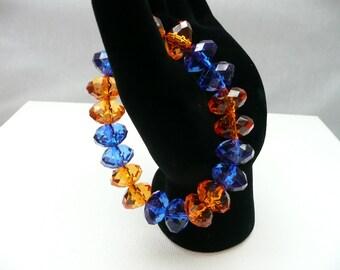 nbs-Double Orange and Blue Acrylic Stretch Bracelet