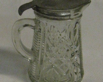 Cut Glass Syrup Pitcher, Antique