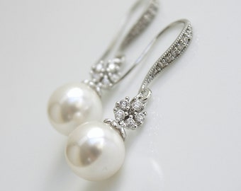 Pearl Bridal Earrings Cubic Zirconia Flower Dangle Earrings Silver White/Ivory OR Cream Swarovski Pearls Wedding Jewelry