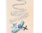 Happy birthday flying bear plane banner, Handmade and Recycled in Manchester, England
