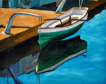 Santa Barbara Art Painting - Harbor Canoe - 6x6 Nautical Oil Painting gold and teal by Sharon Schock