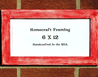 6X12 Picture Frame Distressed Red White Shabby Chic Frame Wedding Photo Frame