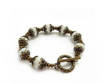 White Boho Bracelet - Vintage Inspired Jewelry - Antiqued Bronze - Handmade Beaded Layering Bracelet
