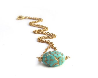 Minimalist Turquoise Necklace - Czech Glass Bead - Gold Inlay - Gold Chain - Simple Blue Necklace
