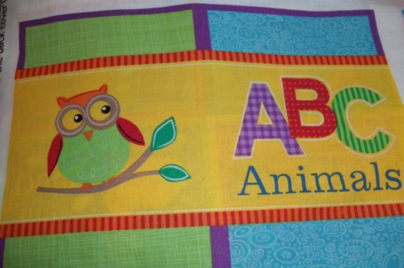 Childrens fabric book panel animal abcs diy cloth book for Children s fabric panels