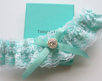 Lace Garter, Wedding Garter, Aqua Blue Wedding Garter, INCLUDING Lace Toss Garter with Rhinestone Center - The ANITA Garter